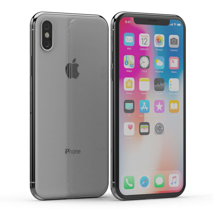 Apple iPhone X Silver and Space gray royalty-free 3d model - Preview no. 5