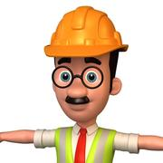 cartoon man 1 engineer 3d model