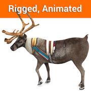 Reindeer rigged animated 3d model