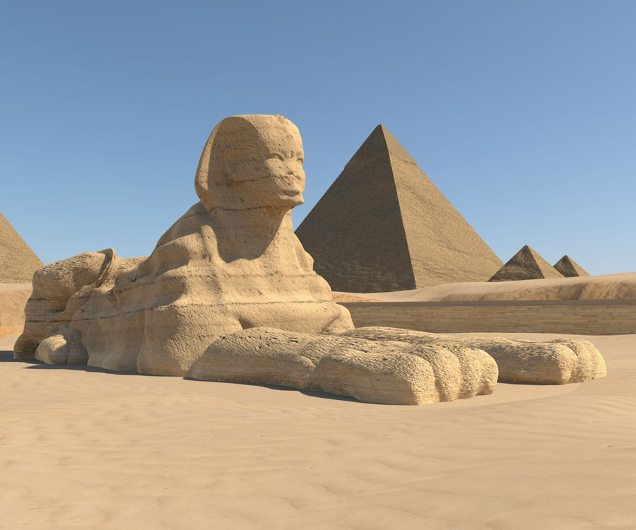 The great sphinx royalty-free 3d model - Preview no. 1