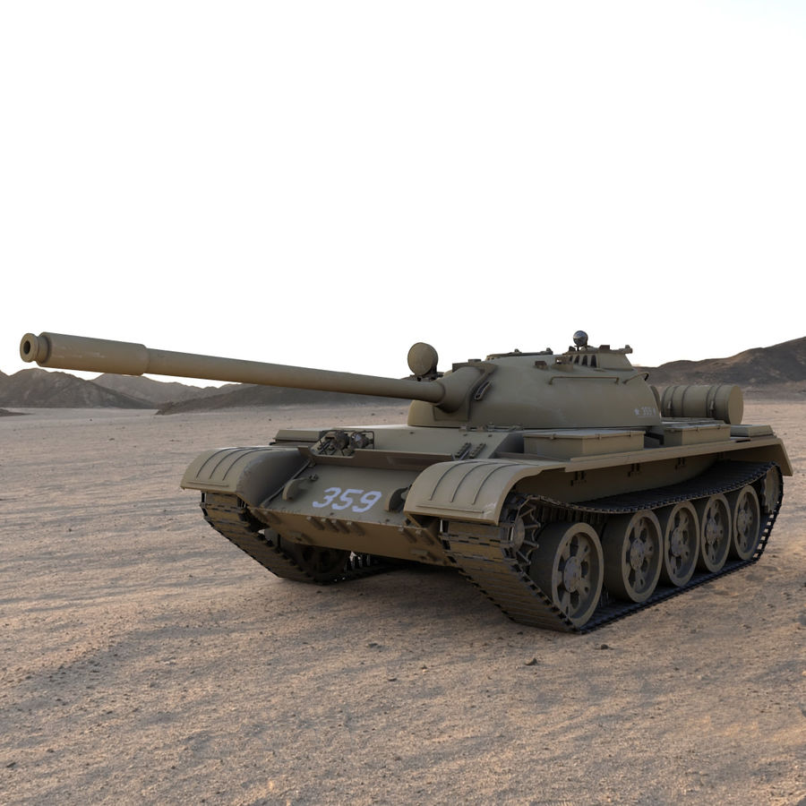 T55 Tank royalty-free 3d model - Preview no. 1
