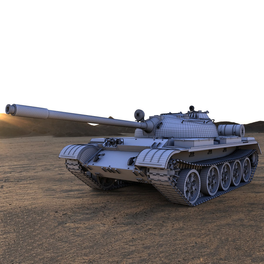 T55 Tank royalty-free 3d model - Preview no. 2