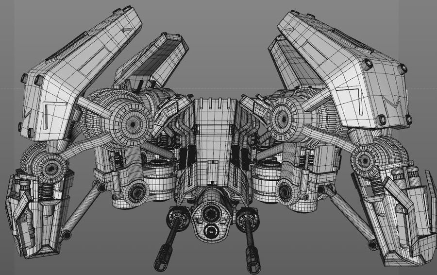 Spider robot royalty-free 3d model - Preview no. 9