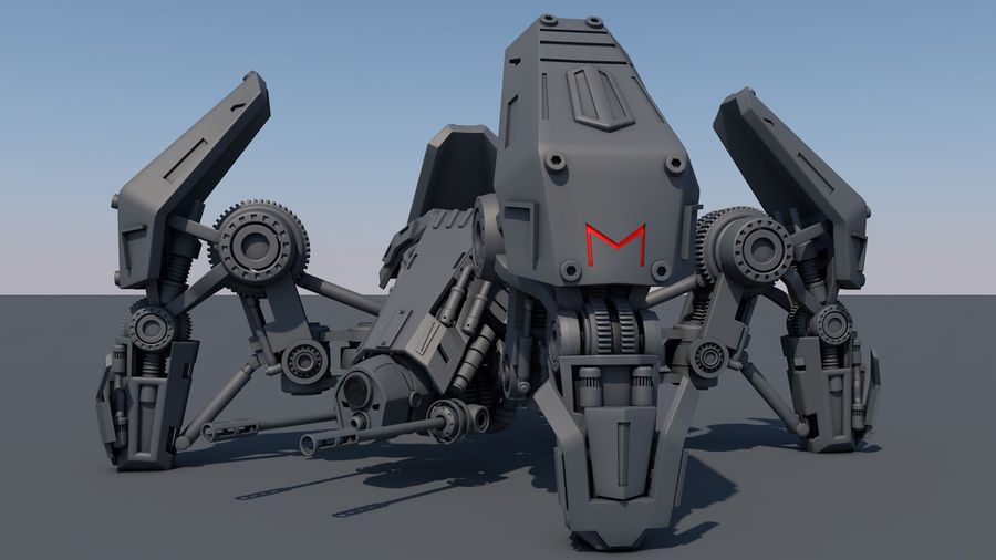 Spider robot royalty-free 3d model - Preview no. 1