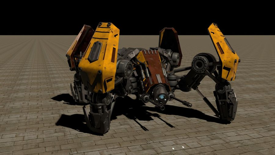 Spider robot royalty-free 3d model - Preview no. 7
