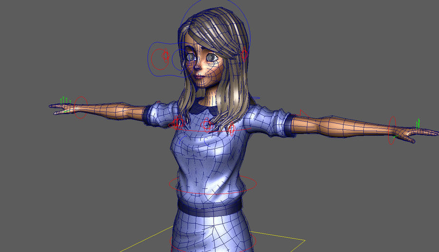 Girl character royalty-free 3d model - Preview no. 10