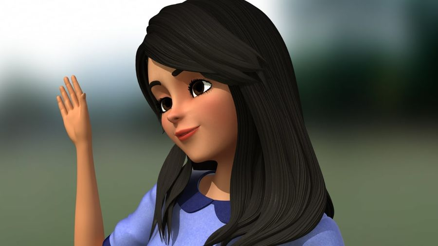 Girl character royalty-free 3d model - Preview no. 2