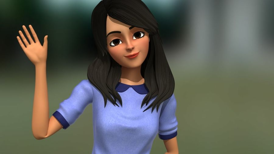 Girl character royalty-free 3d model - Preview no. 1