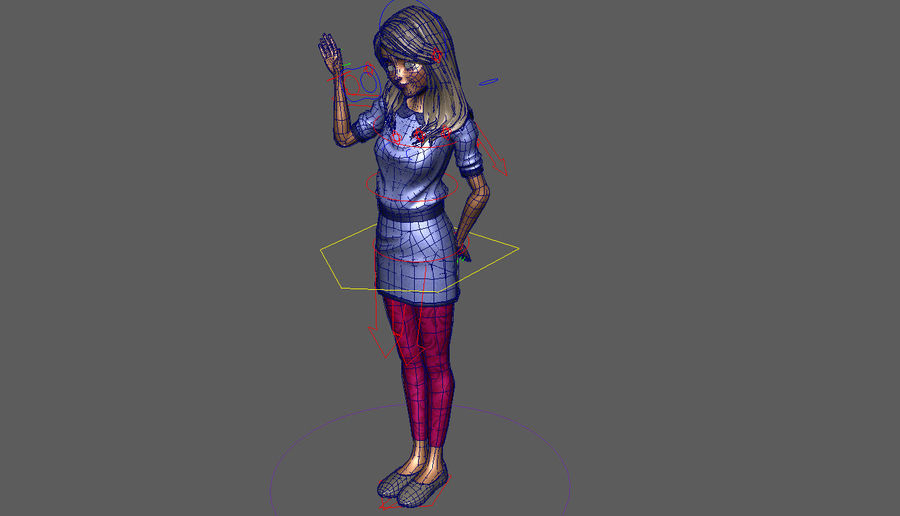 Girl character royalty-free 3d model - Preview no. 7