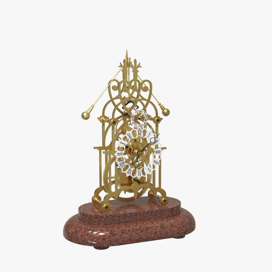 Brass Skeleton Clock royalty-free 3d model - Preview no. 7