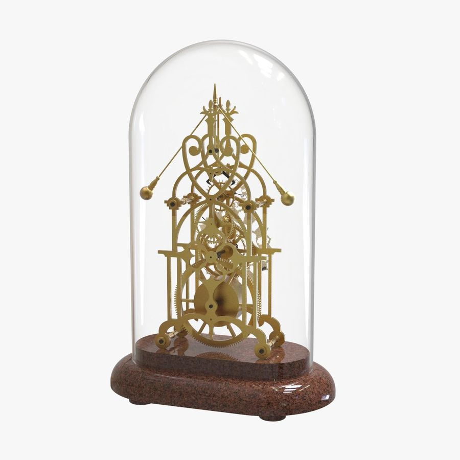 Brass Skeleton Clock royalty-free 3d model - Preview no. 4