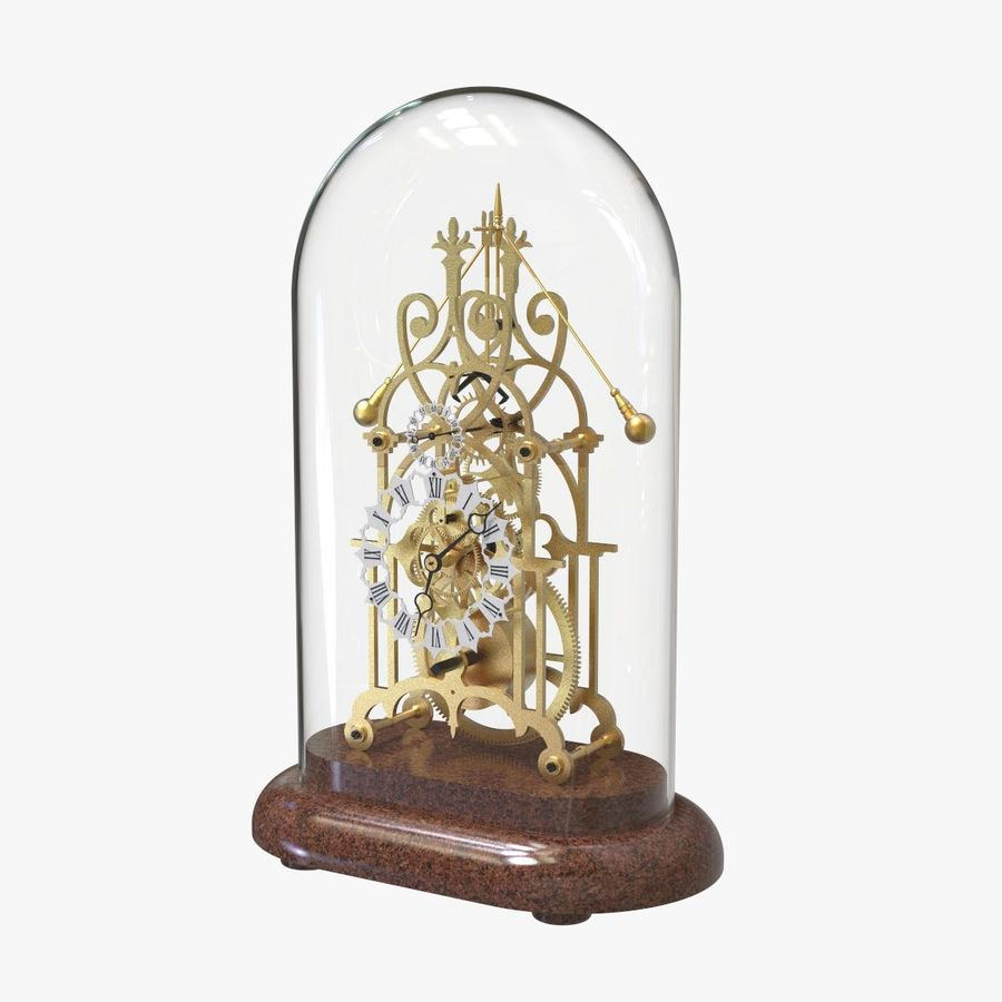 Brass Skeleton Clock royalty-free 3d model - Preview no. 1