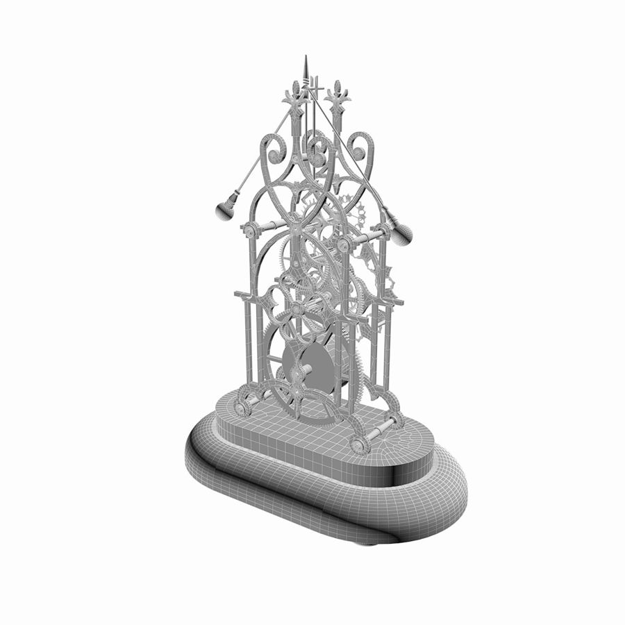 Brass Skeleton Clock royalty-free 3d model - Preview no. 11