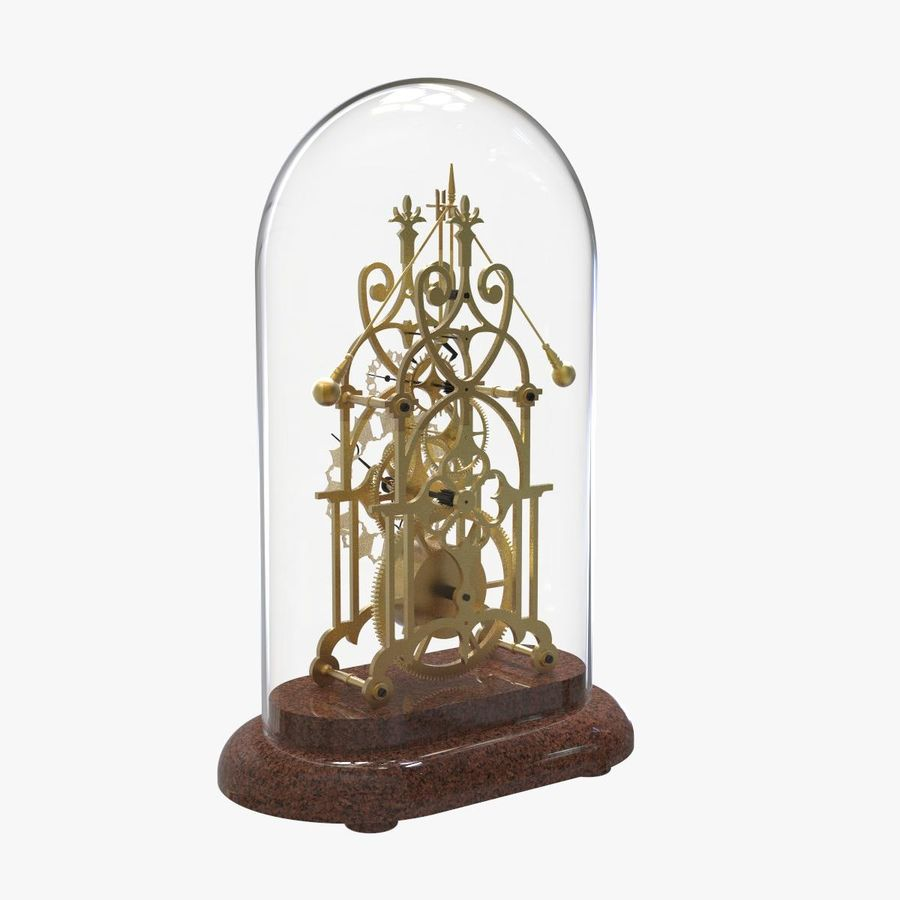 Brass Skeleton Clock royalty-free 3d model - Preview no. 3
