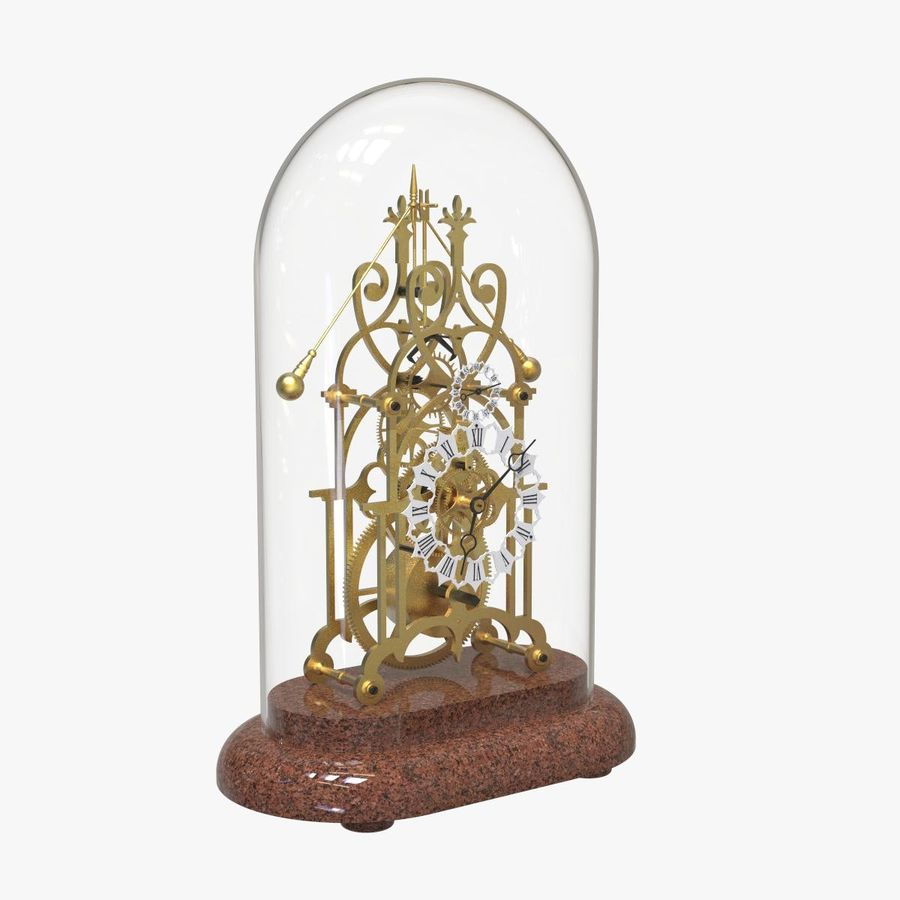 Brass Skeleton Clock royalty-free 3d model - Preview no. 6