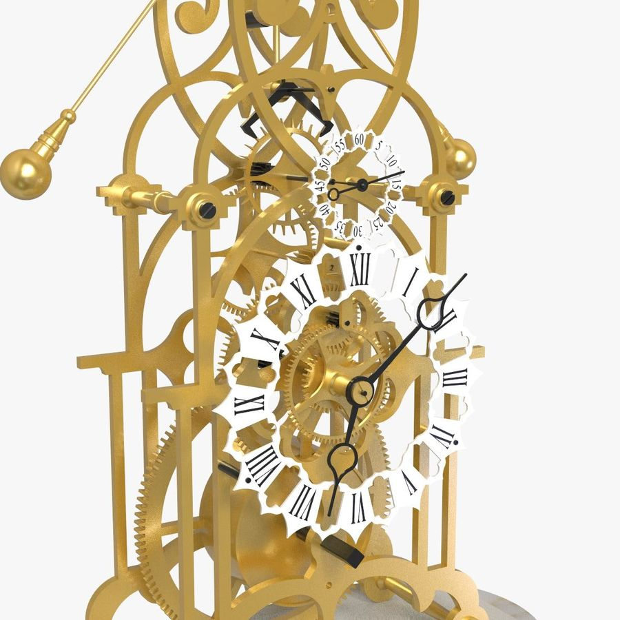 Brass Skeleton Clock royalty-free 3d model - Preview no. 8