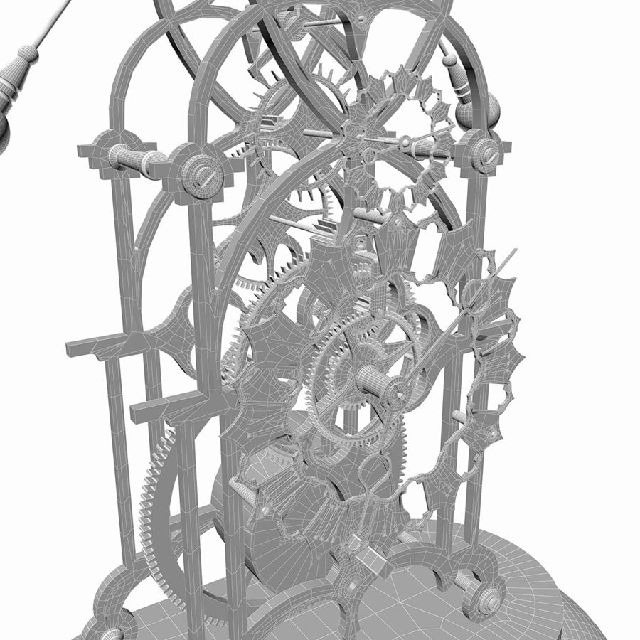 Brass Skeleton Clock royalty-free 3d model - Preview no. 12