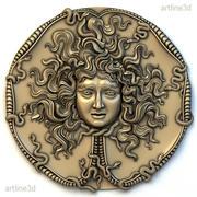 Medusa medallion basrelief_01 model 3d model