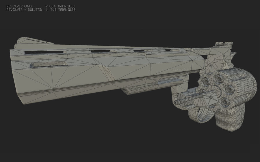 revolver royalty-free 3d model - Preview no. 20