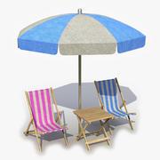 Tavolo ombrellone sedia a sdraio 3d model
