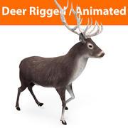 deer rigged animated black 3d model