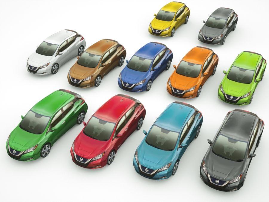 Colección Nissan LEAF 2018 royalty-free modelo 3d - Preview no. 1