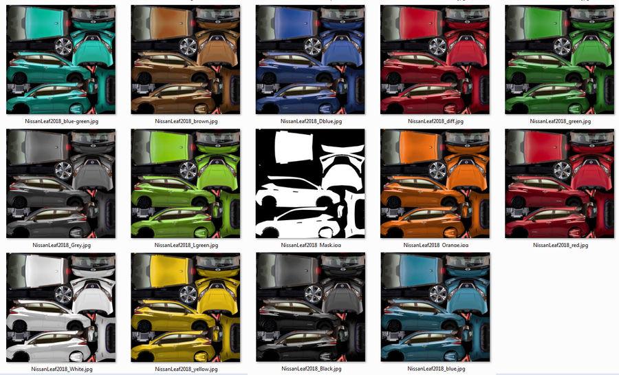 Colección Nissan LEAF 2018 royalty-free modelo 3d - Preview no. 3