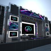 Utomhus konsert scen 3d model