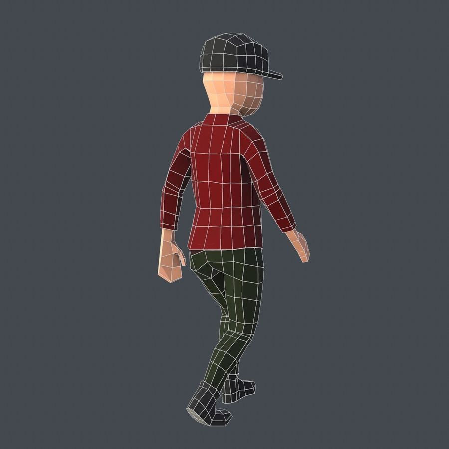 Низкополигональный персонаж royalty-free 3d model - Preview no. 7