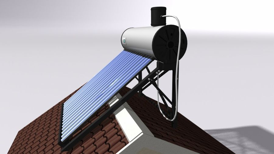Chauffe-eau solaire royalty-free 3d model - Preview no. 3