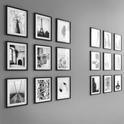 18 foto incorniciate in bianco e nero 3d model
