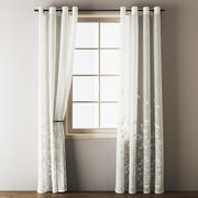 Floral Embroidered Linen Eyelet Curtains 3d model