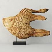 Sculpture de poisson en bois sculpté sur support 3d model