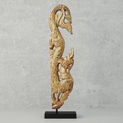 Sculpture sur bois doré en forme de Naga 3d model