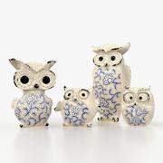 Keramik Eulen Familie 3d model