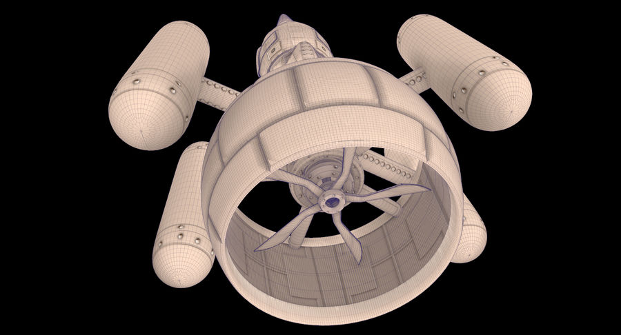 SciFi Spaceship royalty-free 3d model - Preview no. 8