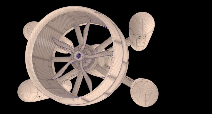 SciFi Spaceship royalty-free 3d model - Preview no. 7