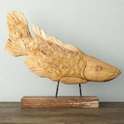 Sculpture de poisson en bois de teck 3d model