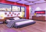 modelo de dormitorio con muebles completos con todo matrial modelo 3d
