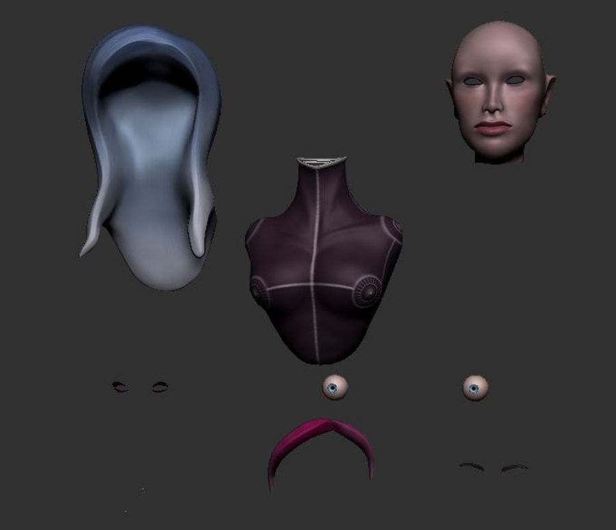 Female Bust royalty-free 3d model - Preview no. 9