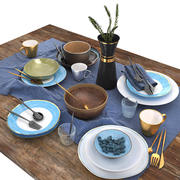 Blue and brown table set 3d model