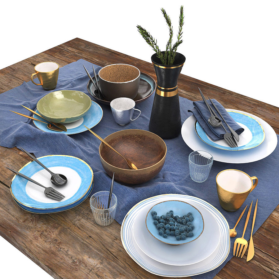 Blue and brown table set royalty-free 3d model - Preview no. 1