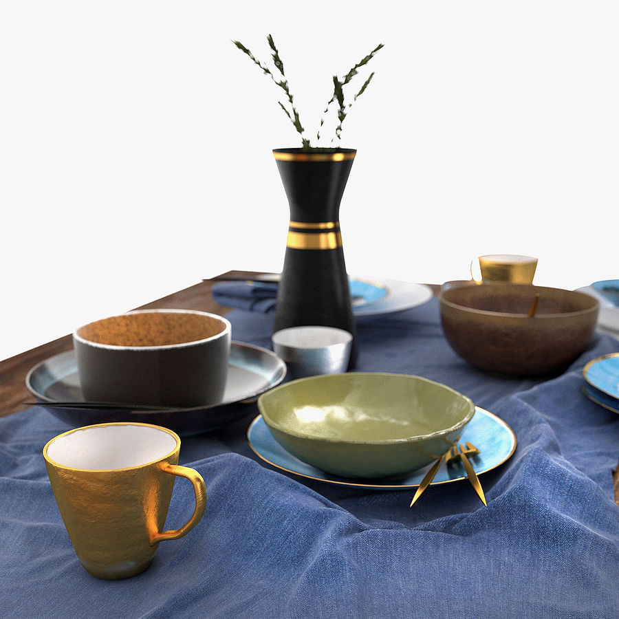 Blue and brown table set royalty-free 3d model - Preview no. 5