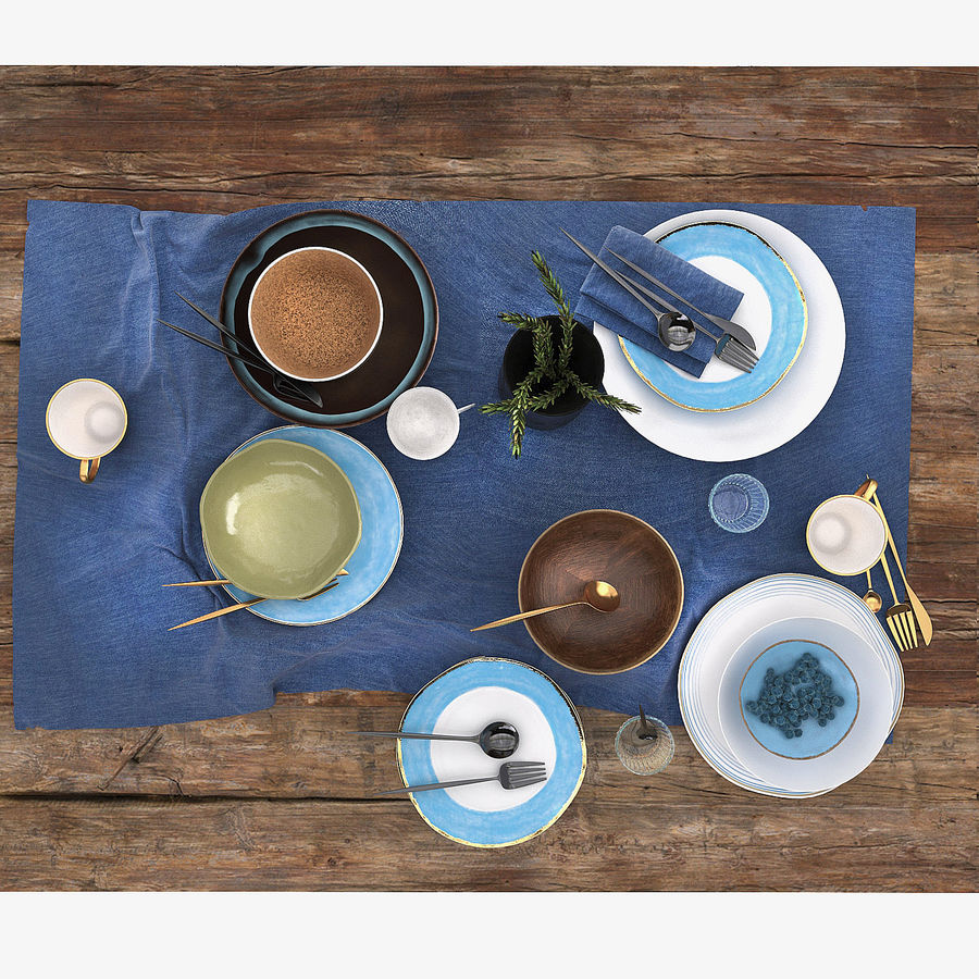 Blue and brown table set royalty-free 3d model - Preview no. 4