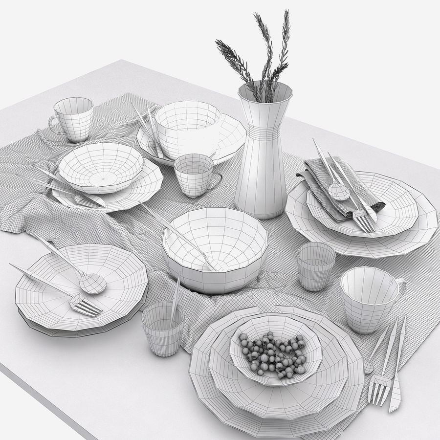 Blue and brown table set royalty-free 3d model - Preview no. 6