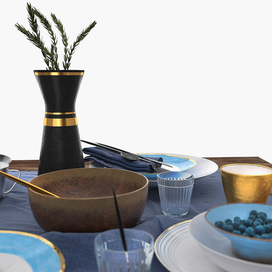 Blue and brown table set royalty-free 3d model - Preview no. 2
