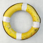 Środek ratujący życie w połowie żółtego i białego koloru 3d model