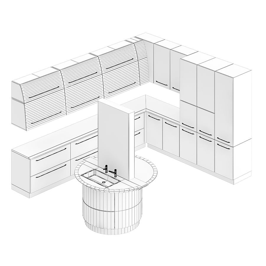 Juego de muebles de cocina 13 royalty-free modelo 3d - Preview no. 2
