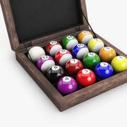 Pool balls in wood box 3d model