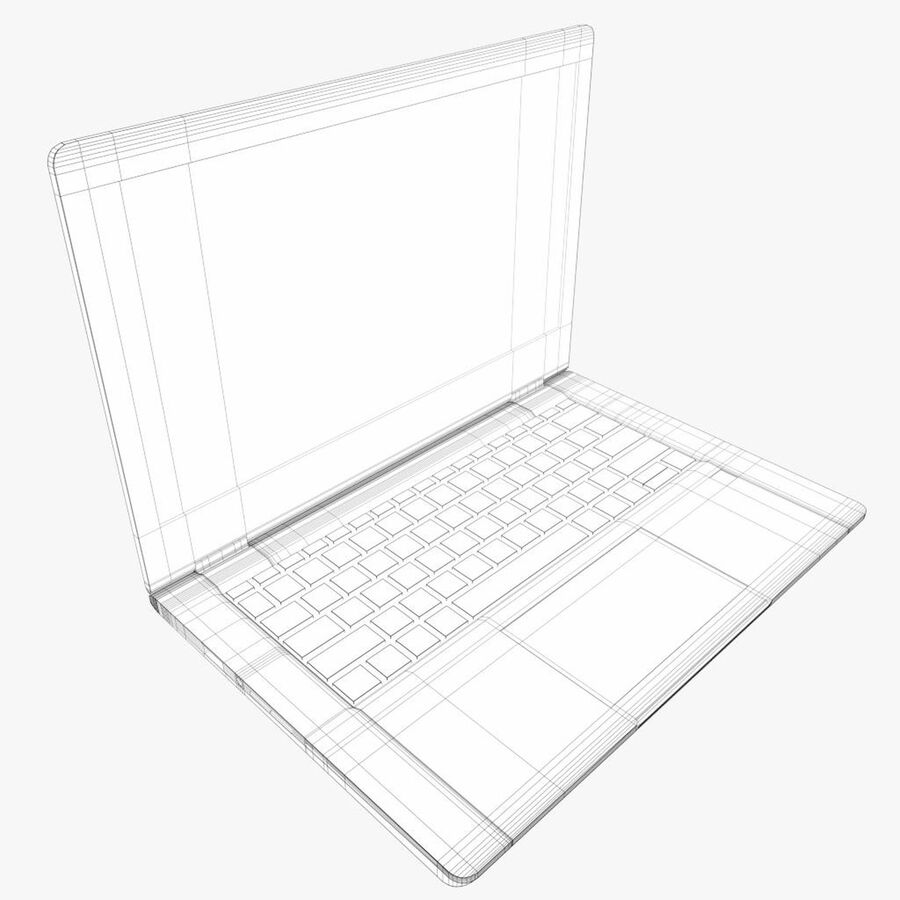 Notebook laptop computer royalty-free 3d model - Preview no. 7
